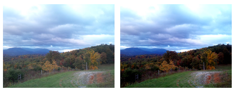 Picture showing the before and after of a scenic enhanced photograph .
