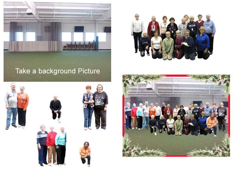 Picture showing how I can take a bockground picture and several group picture and combine them as one.
